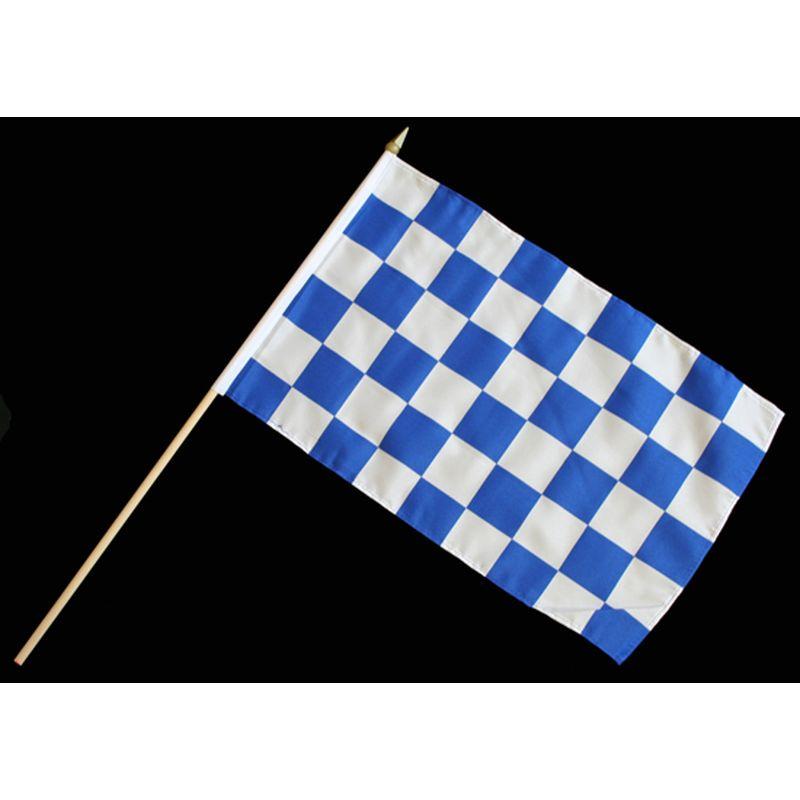 Stock-Flagge 30 X 45 : Karo Blau-Weiß, 3,50