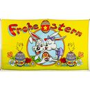 Flagge 90 x 150 : Frohe Ostern weiße Hasen