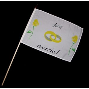 Stock-Flagge 30 x 45 : Just Married (Hochzeit)